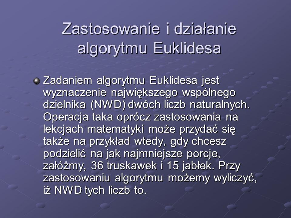 Zastosowanie i działanie algorytmu Euklidesa