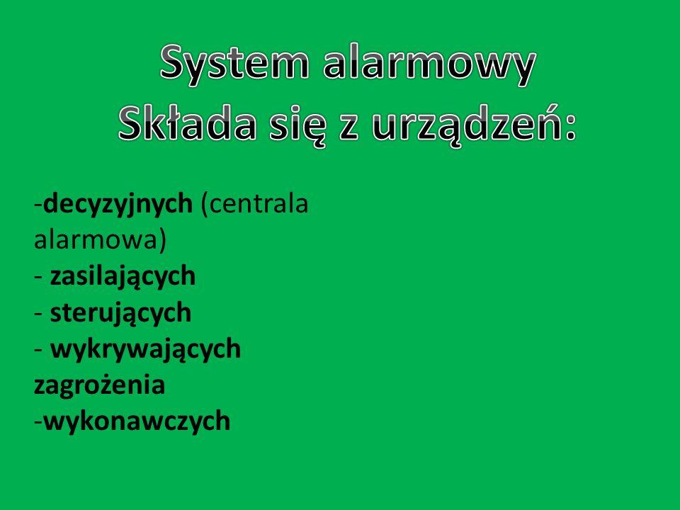 System alarmowy Składa się z urządzeń: