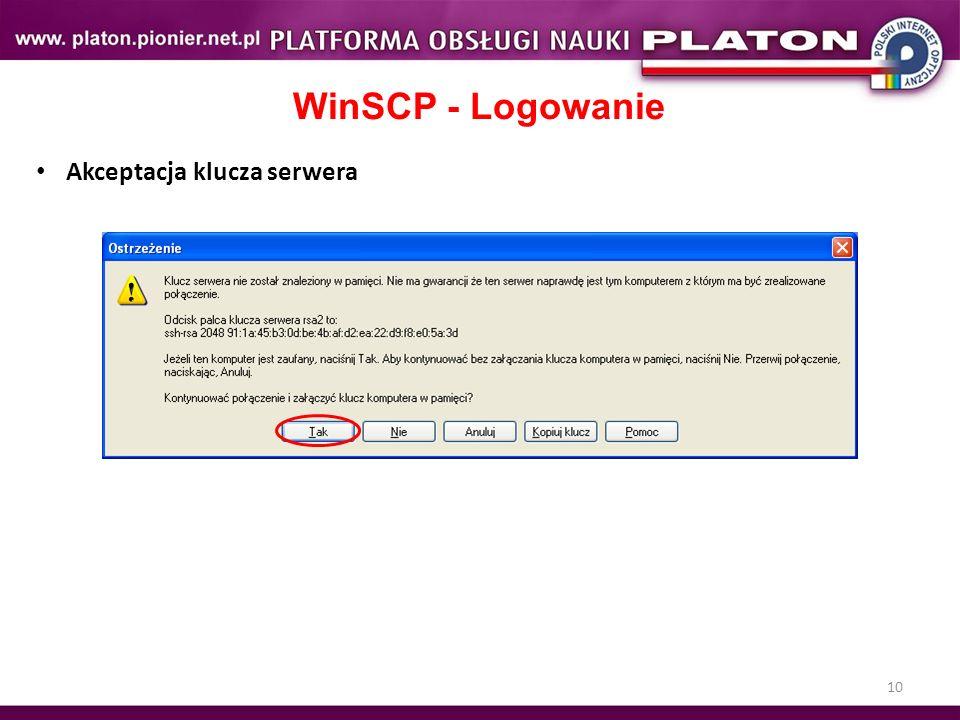 WinSCP - Logowanie Akceptacja klucza serwera Ćwiczenie 10