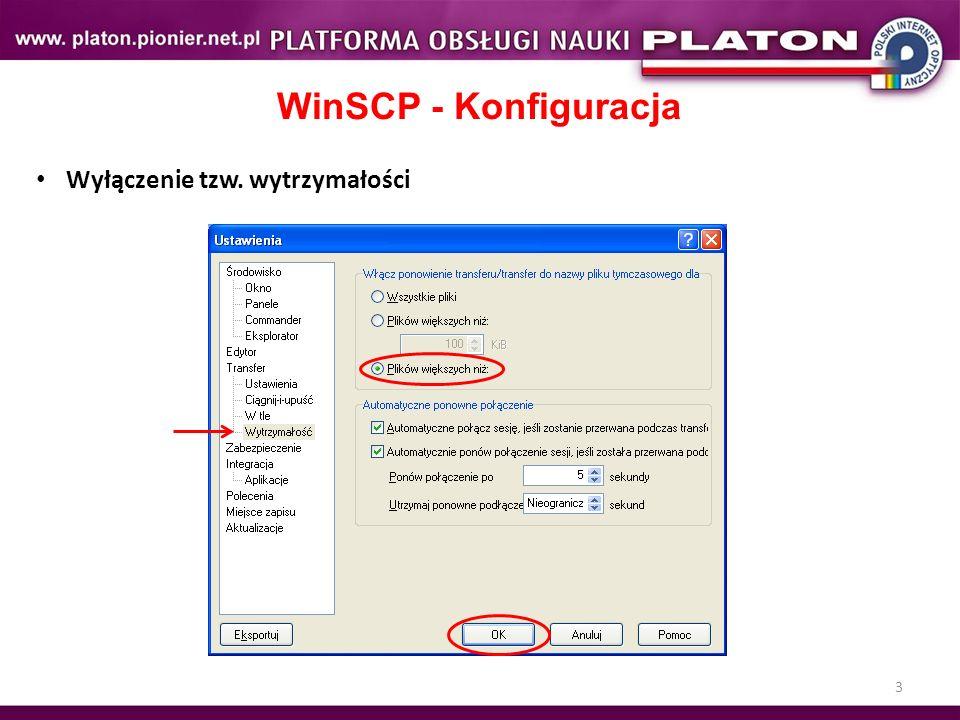 WinSCP - Konfiguracja Wyłączenie tzw. wytrzymałości Ćwiczenie 3