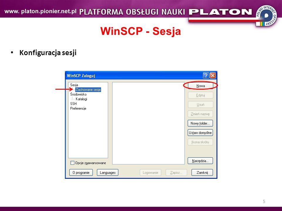 WinSCP - Sesja Konfiguracja sesji Ćwiczenie 5