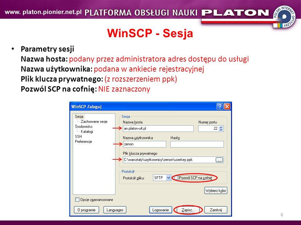 WinSCP - Sesja
