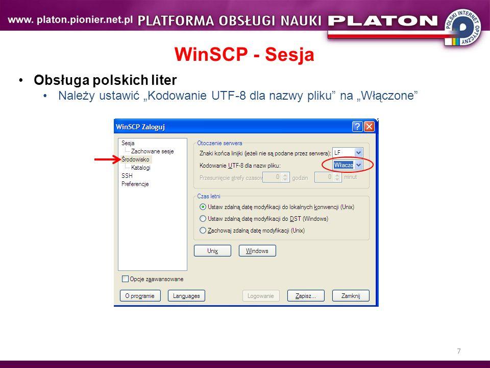 WinSCP - Sesja Obsługa polskich liter