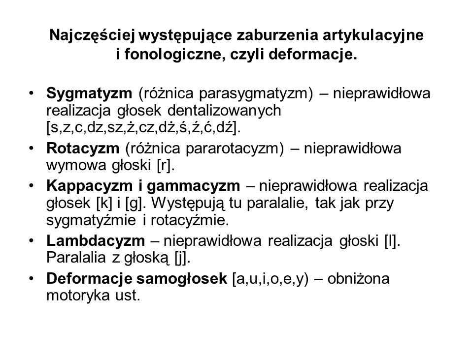 Najczęściej występujące zaburzenia artykulacyjne i fonologiczne, czyli deformacje.