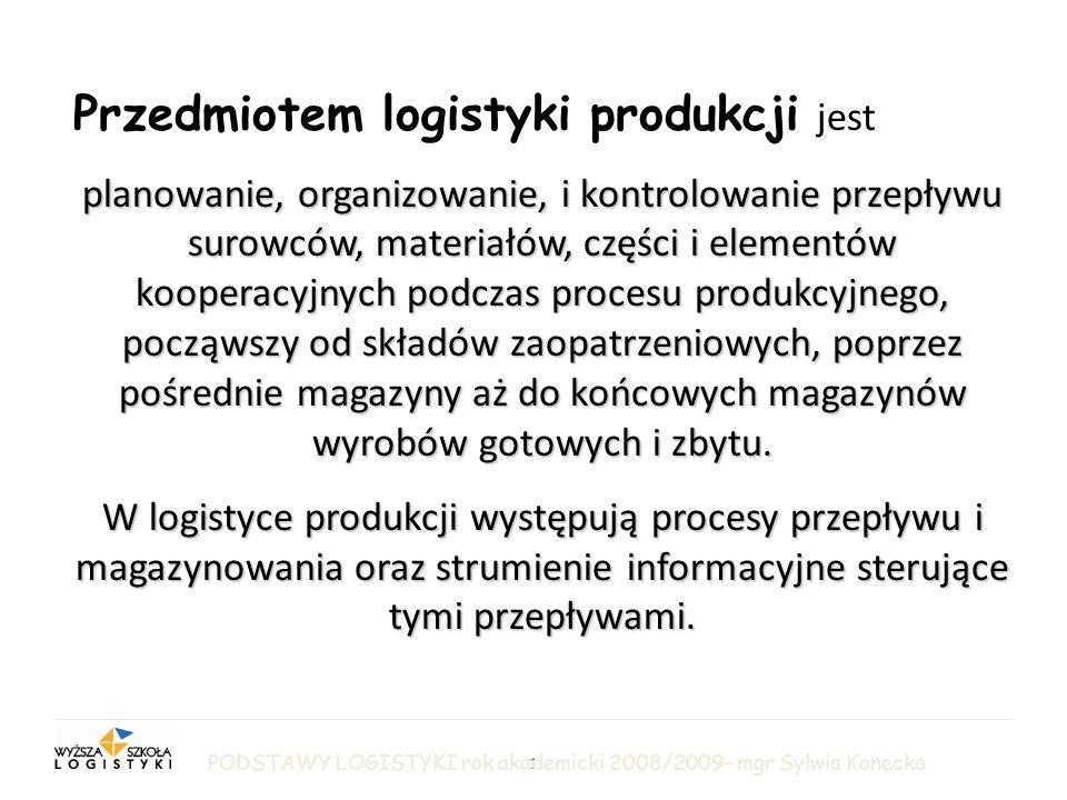 Przedmiotem logistyki produkcji jest