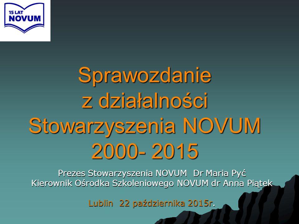 Sprawozdanie z działalności Stowarzyszenia NOVUM 2000- 2015