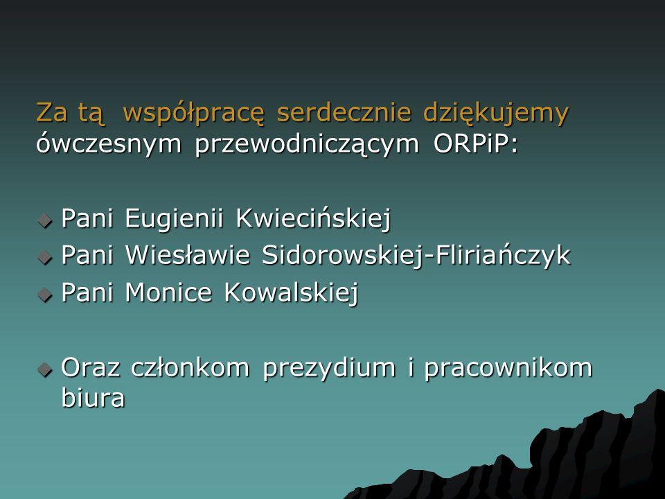 Za tą współpracę serdecznie dziękujemy ówczesnym przewodniczącym ORPiP: