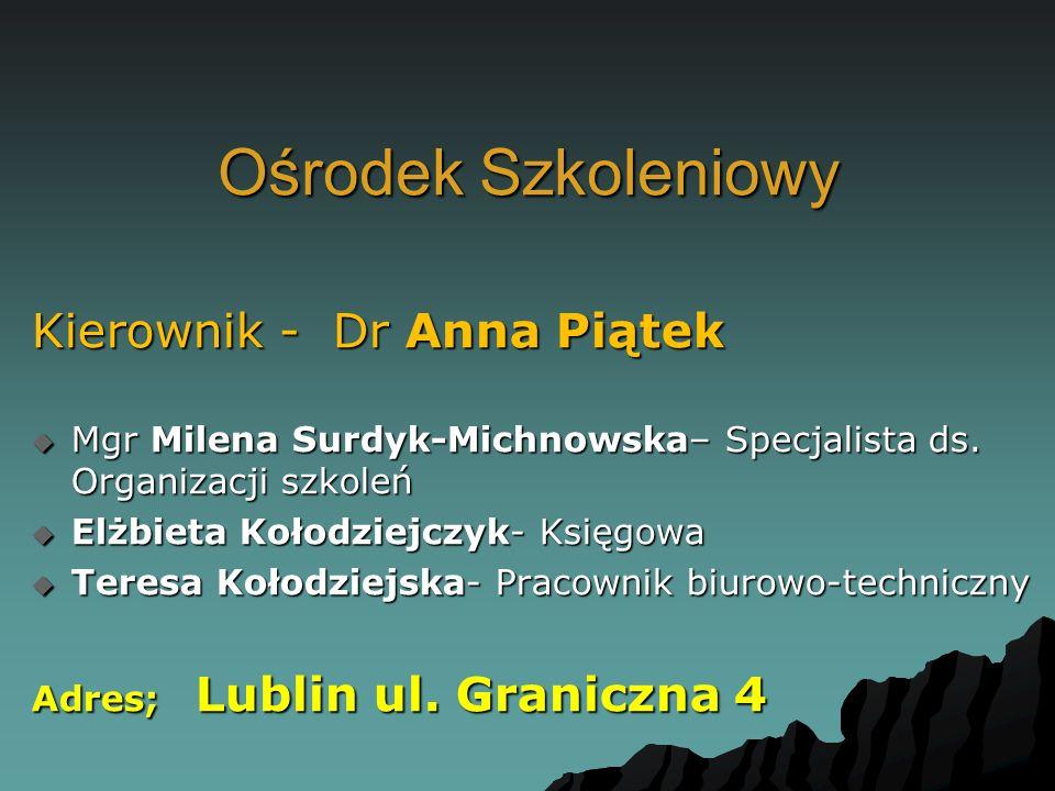 Ośrodek Szkoleniowy Kierownik - Dr Anna Piątek