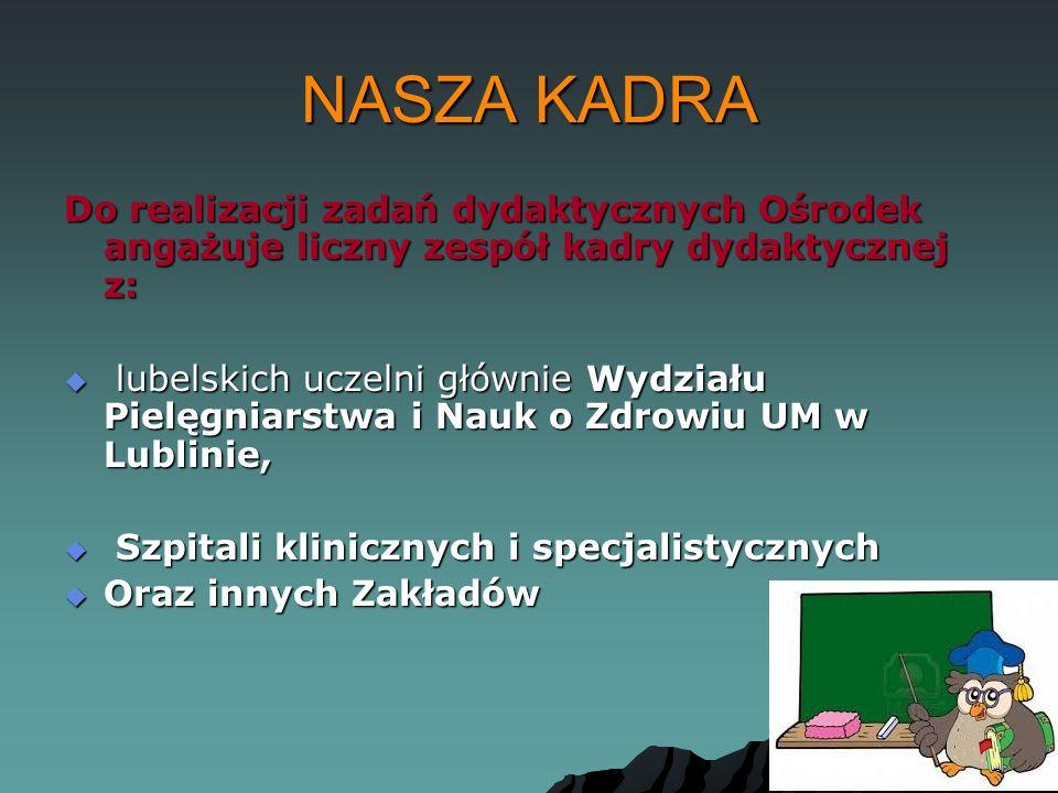 NASZA KADRA Do realizacji zadań dydaktycznych Ośrodek angażuje liczny zespół kadry dydaktycznej z:
