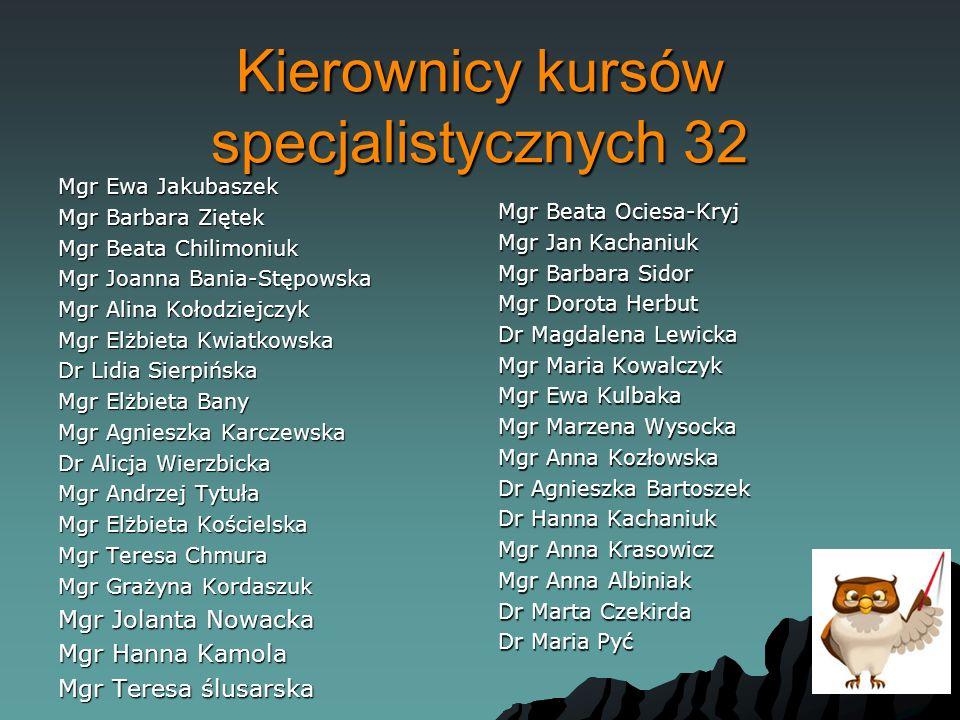 Kierownicy kursów specjalistycznych 32