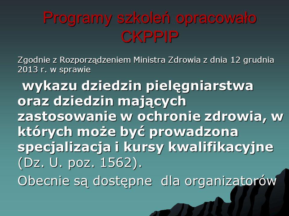 Programy szkoleń opracowało CKPPIP