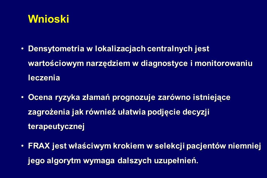 Wnioski Densytometria w lokalizacjach centralnych jest wartościowym narzędziem w diagnostyce i monitorowaniu leczenia.