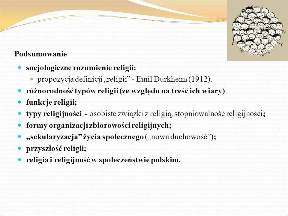 """Podsumowanie socjologiczne rozumienie religii: propozycja definicji """"religii - Emil Durkheim (1912)."""