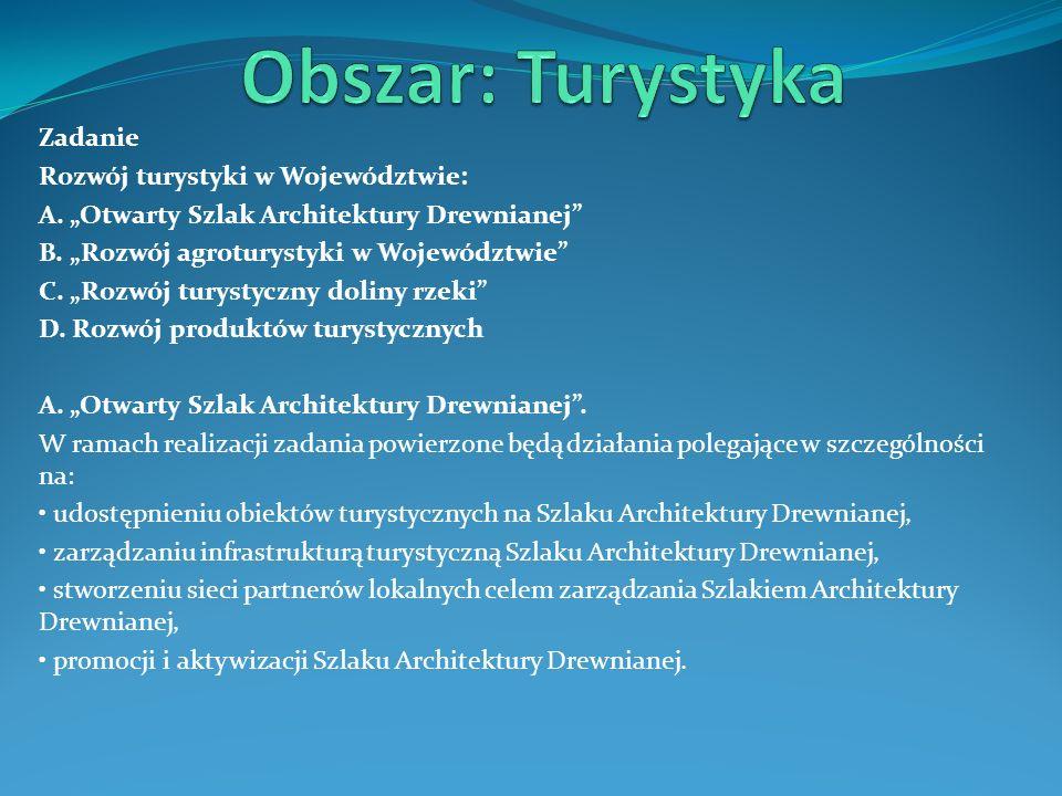 Obszar: Turystyka Zadanie Rozwój turystyki w Województwie: