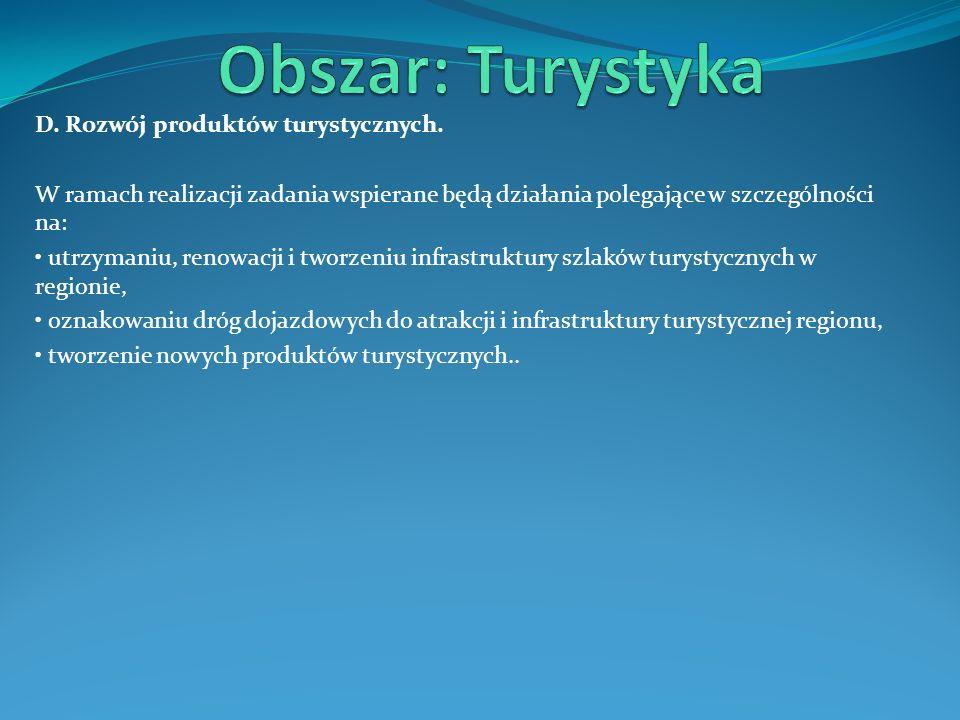 Obszar: Turystyka D. Rozwój produktów turystycznych.