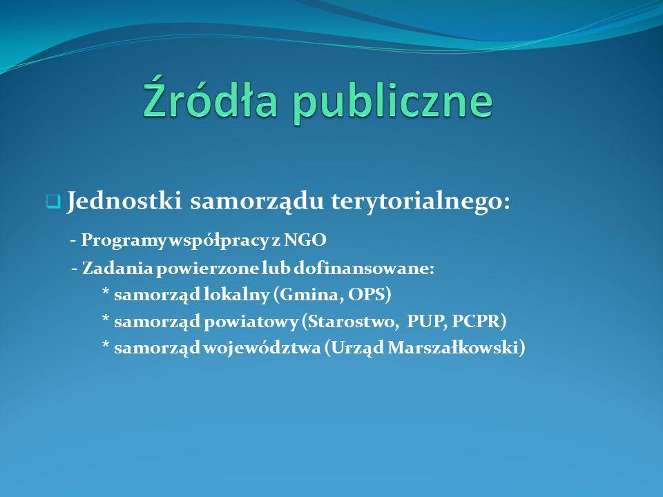 Źródła publiczne - Programy współpracy z NGO