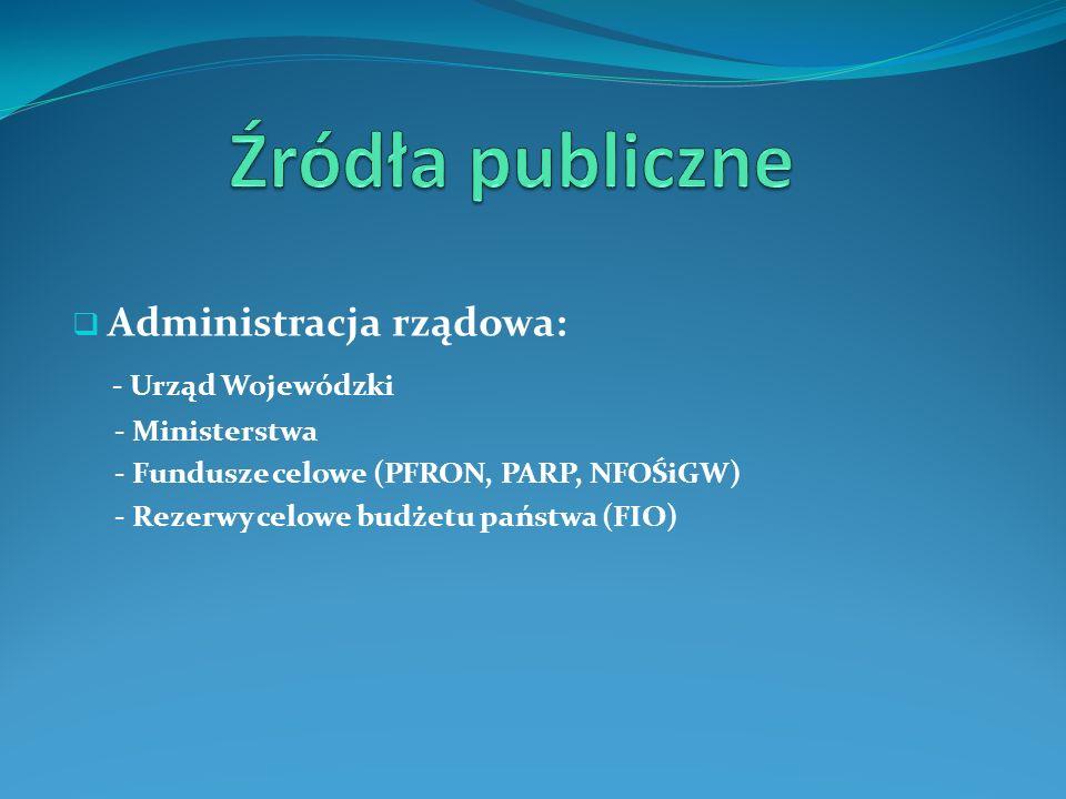 Źródła publiczne - Urząd Wojewódzki Administracja rządowa: