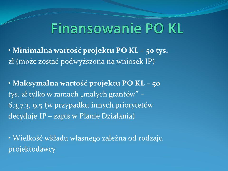 Finansowanie PO KL • Minimalna wartość projektu PO KL – 50 tys.