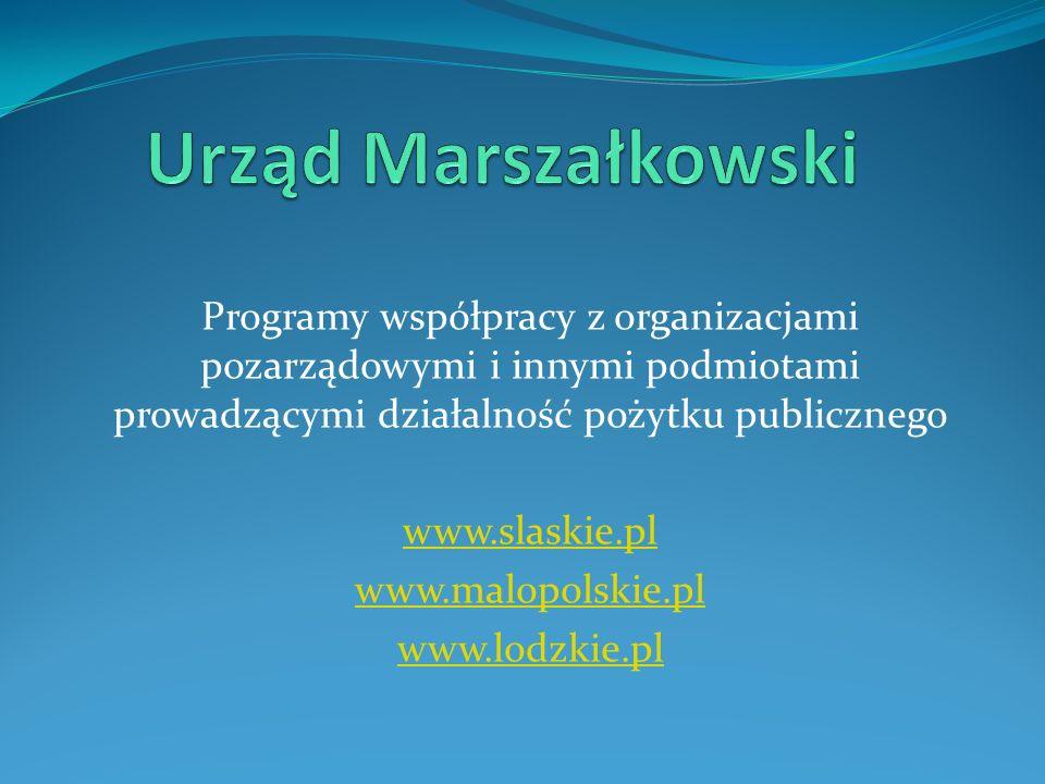 Urząd MarszałkowskiProgramy współpracy z organizacjami pozarządowymi i innymi podmiotami prowadzącymi działalność pożytku publicznego.