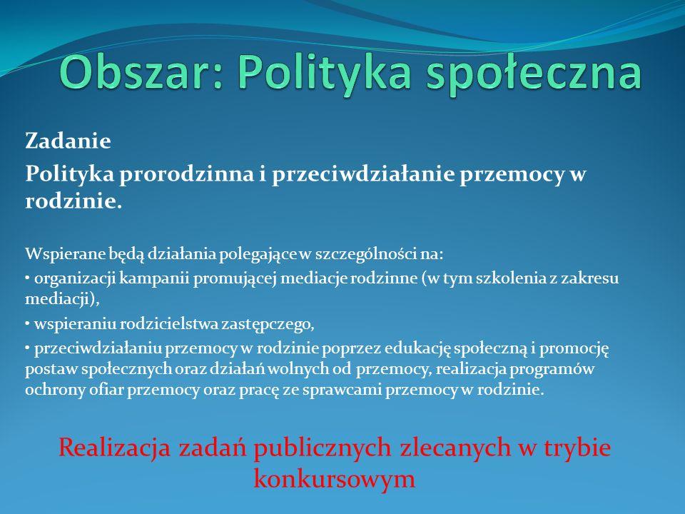 Obszar: Polityka społeczna