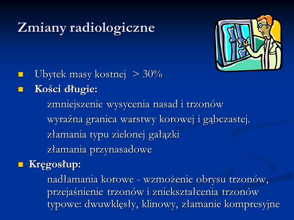 Zmiany radiologiczne Ubytek masy kostnej > 30% Kości długie: