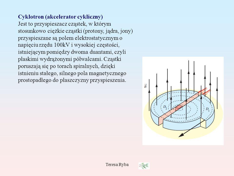Cyklotron (akcelerator cykliczny) Jest to przyspieszacz cząstek, w którym stosunkowo ciężkie cząstki (protony, jądra, jony) przyspieszane są polem elektrostatycznym o napięciu rzędu 100kV i wysokiej częstości, istniejącym pomiędzy dwoma duantami, czyli płaskimi wydrążonymi półwalcami. Cząstki poruszają się po torach spiralnych, dzięki istnieniu stałego, silnego pola magnetycznego prostopadłego do płaszczyzny przyspieszenia.