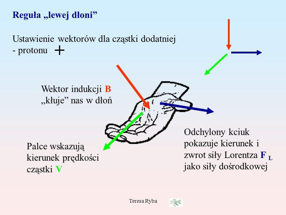 Ustawienie wektorów dla cząstki dodatniej - protonu