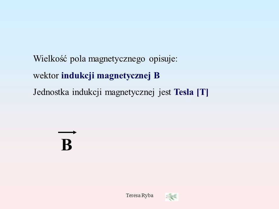 B Wielkość pola magnetycznego opisuje: wektor indukcji magnetycznej B