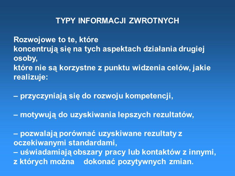 TYPY INFORMACJI ZWROTNYCH