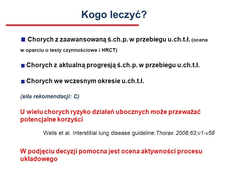 Kogo leczyć Chorych z zaawansowaną ś.ch.p. w przebiegu u.ch.t.ł. (ocena w oparciu o testy czynnościowe i HRCT)