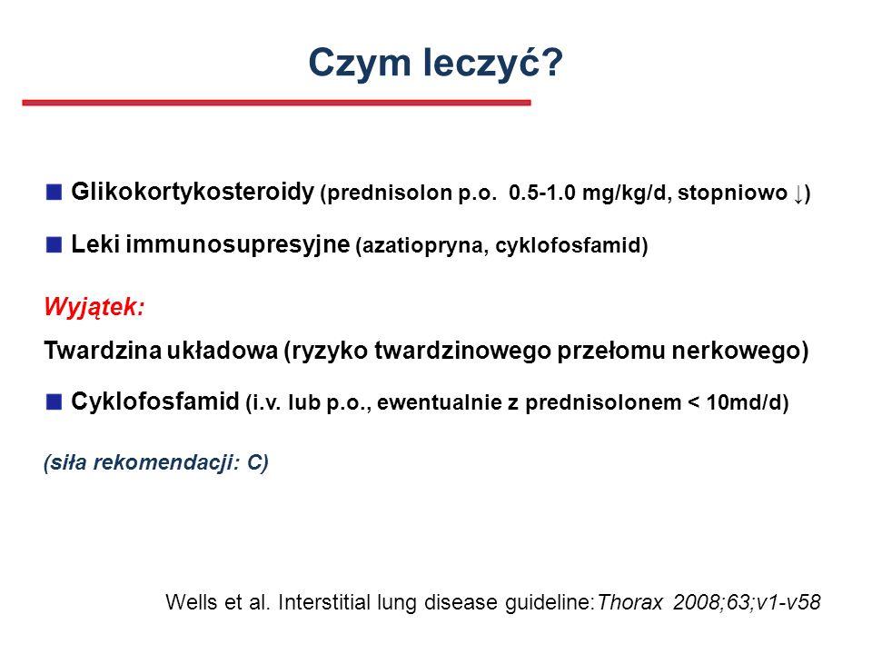 Czym leczyć Glikokortykosteroidy (prednisolon p.o. 0.5-1.0 mg/kg/d, stopniowo ↓) Leki immunosupresyjne (azatiopryna, cyklofosfamid)
