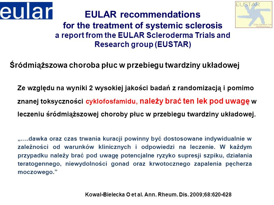 EULAR recommendations for the treatment of systemic sclerosis a report from the EULAR Scleroderma Trials and Research group (EUSTAR)