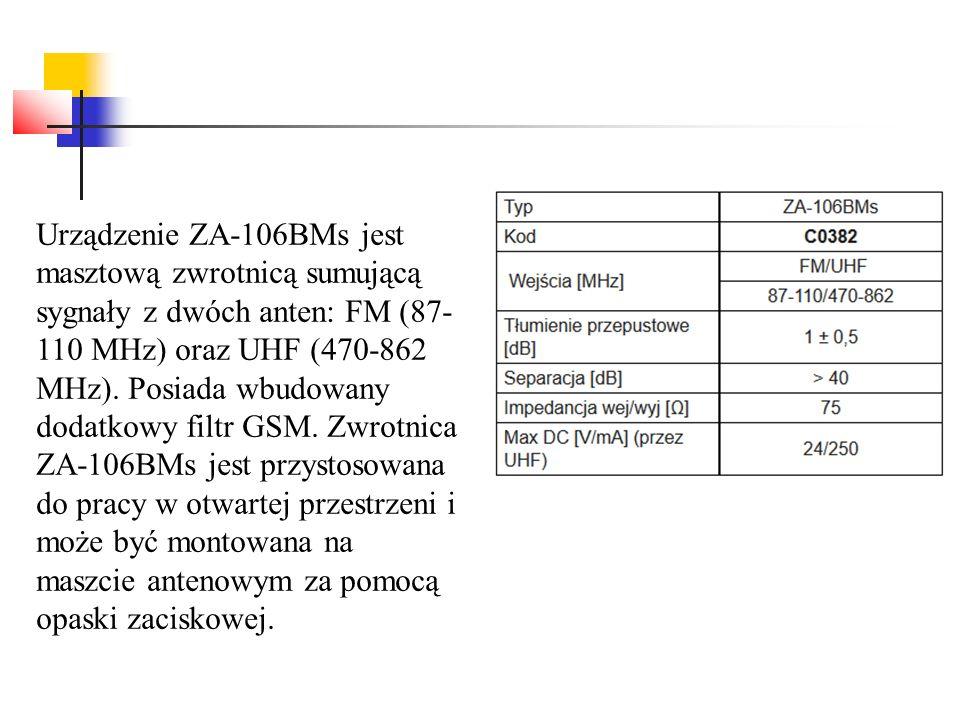 Urządzenie ZA-106BMs jest masztową zwrotnicą sumującą sygnały z dwóch anten: FM (87-110 MHz) oraz UHF (470-862 MHz).