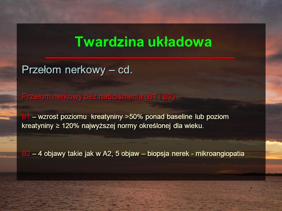 Twardzina układowa Przełom nerkowy – cd.
