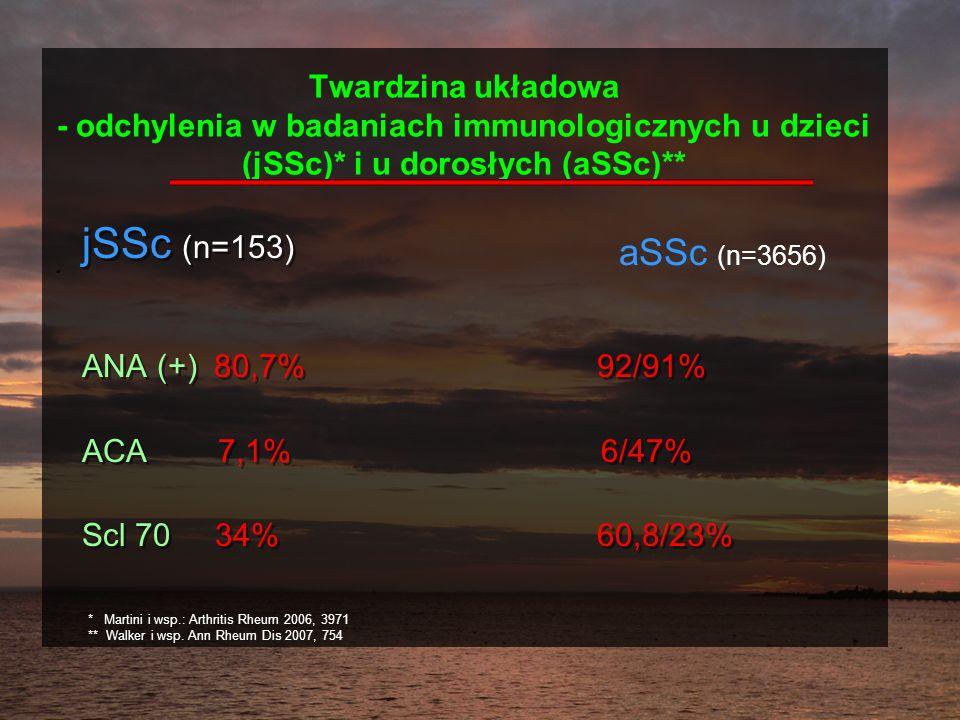 Twardzina układowa - odchylenia w badaniach immunologicznych u dzieci (jSSc)* i u dorosłych (aSSc)**