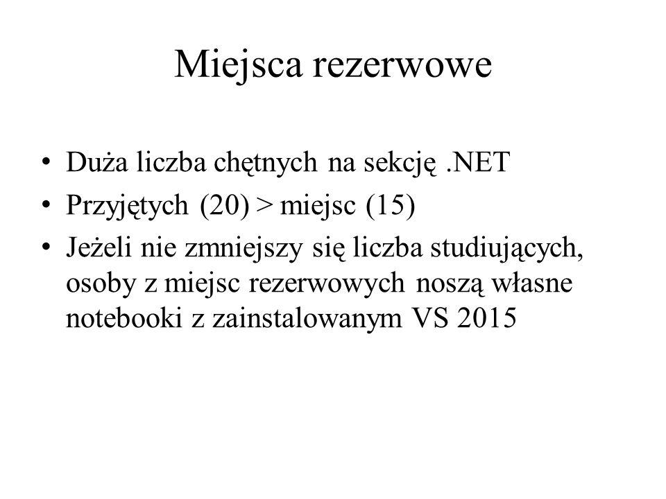 Miejsca rezerwowe Duża liczba chętnych na sekcję .NET
