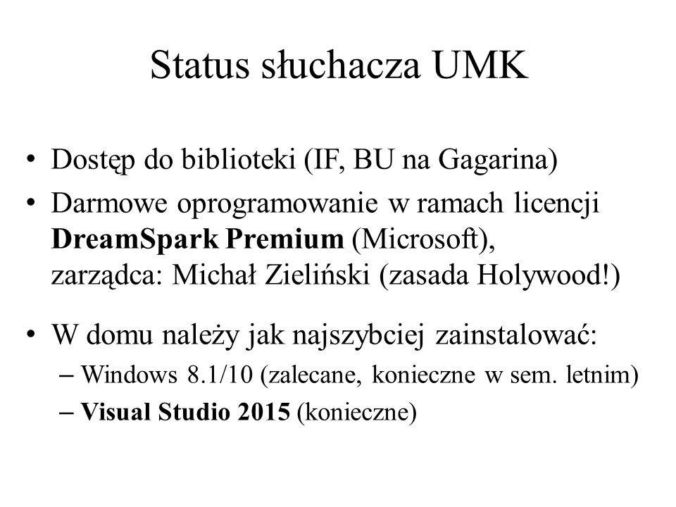 Status słuchacza UMK Dostęp do biblioteki (IF, BU na Gagarina)