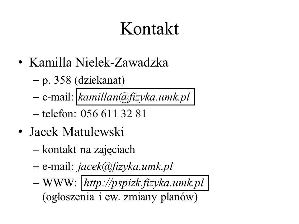 Kontakt Kamilla Nielek-Zawadzka Jacek Matulewski p. 358 (dziekanat)