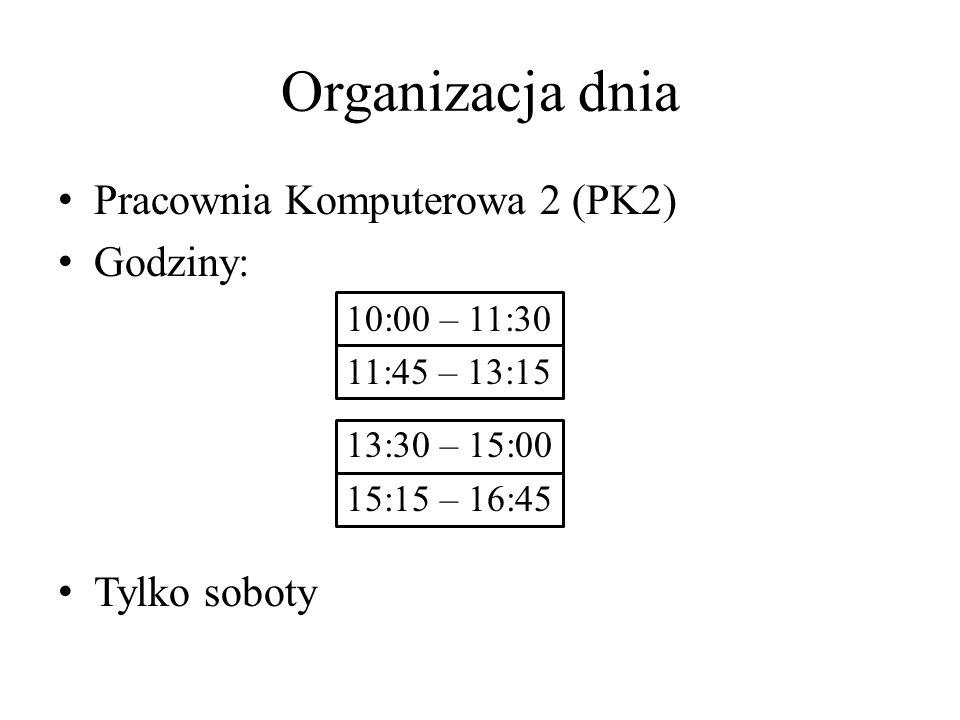 Organizacja dnia Pracownia Komputerowa 2 (PK2) Godziny: Tylko soboty