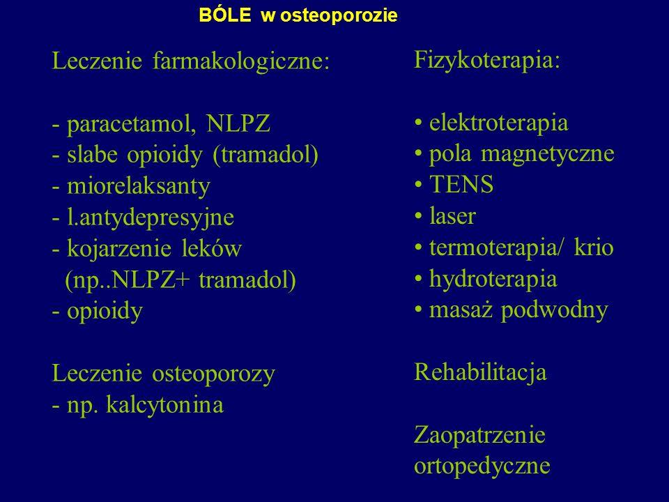 Leczenie farmakologiczne: - paracetamol, NLPZ