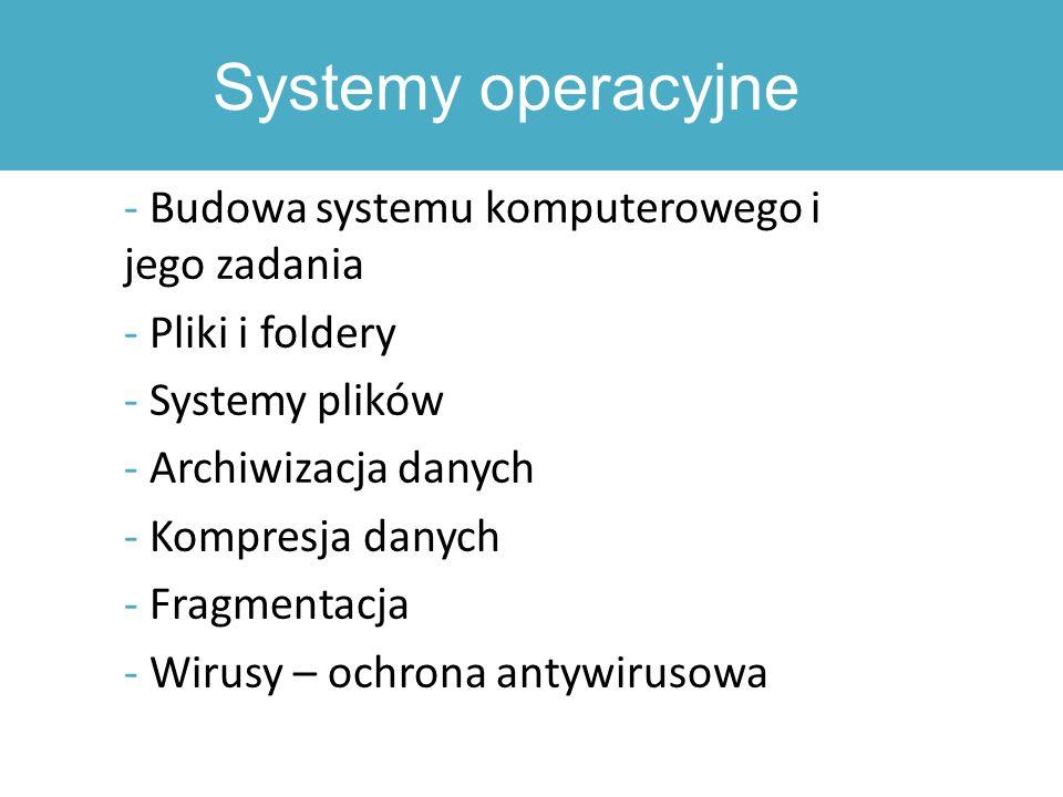 Systemy operacyjne - Budowa systemu komputerowego i jego zadania