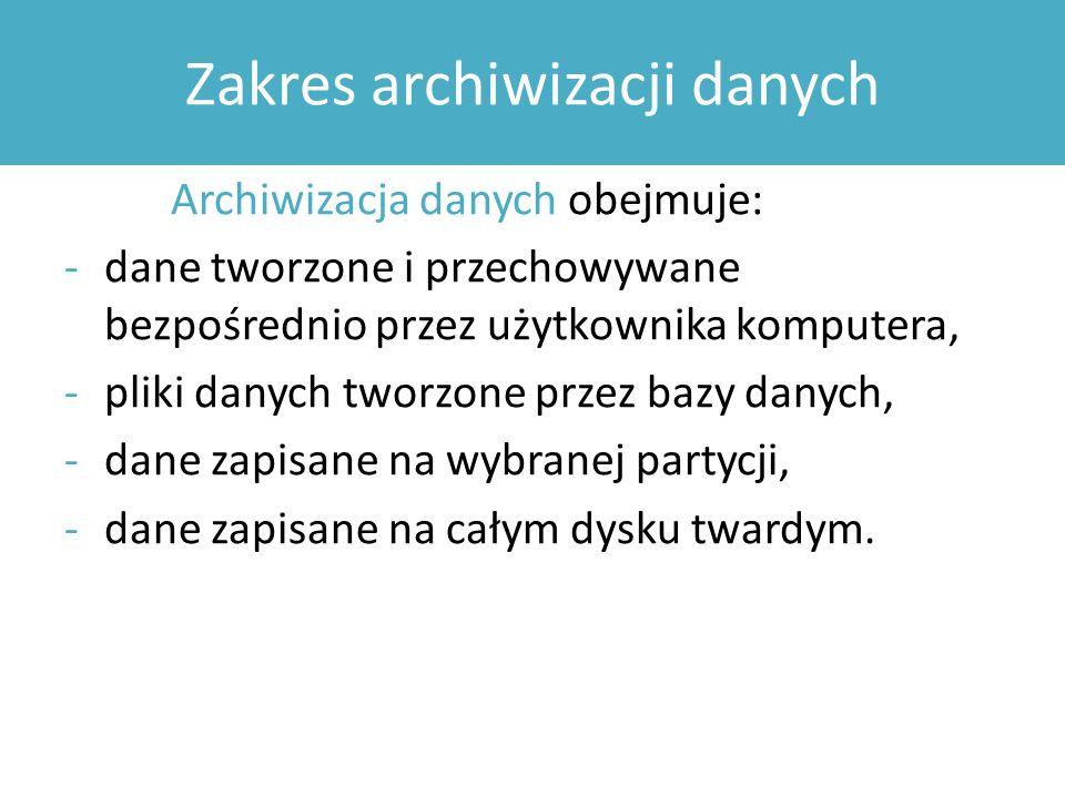 Zakres archiwizacji danych
