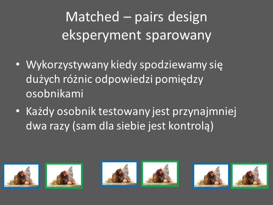 Matched – pairs design eksperyment sparowany