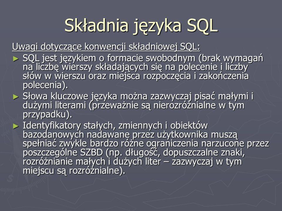Składnia języka SQL Uwagi dotyczące konwencji składniowej SQL: