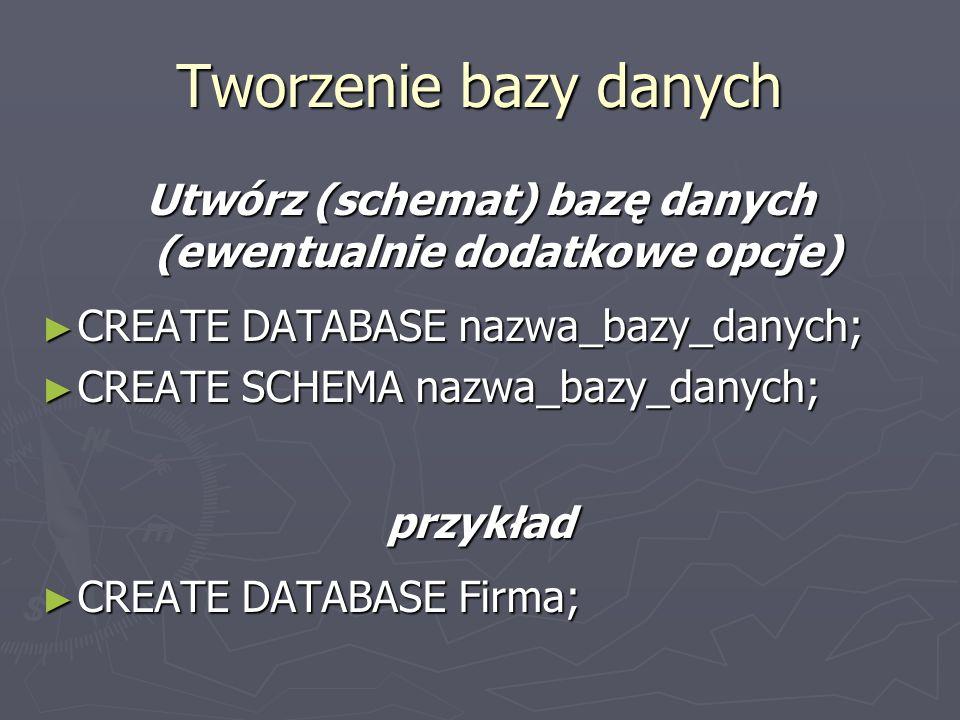Utwórz (schemat) bazę danych (ewentualnie dodatkowe opcje)