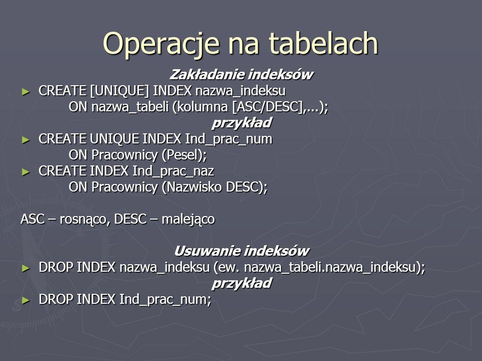 Operacje na tabelach Zakładanie indeksów