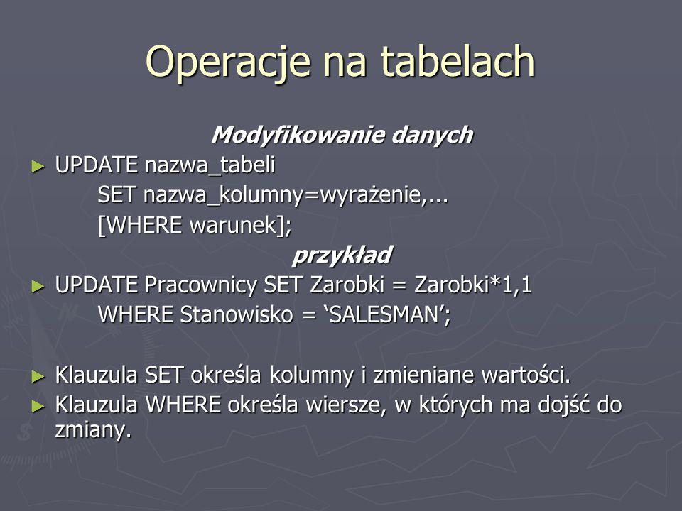 Operacje na tabelach Modyfikowanie danych UPDATE nazwa_tabeli