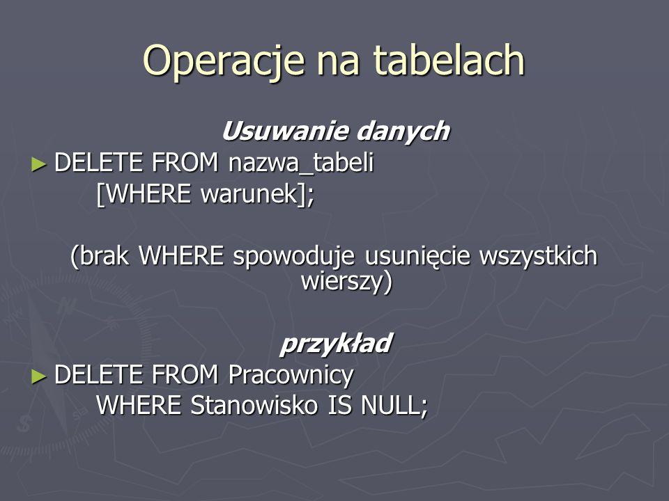 (brak WHERE spowoduje usunięcie wszystkich wierszy)