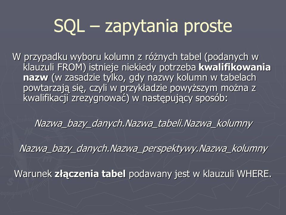 SQL – zapytania proste
