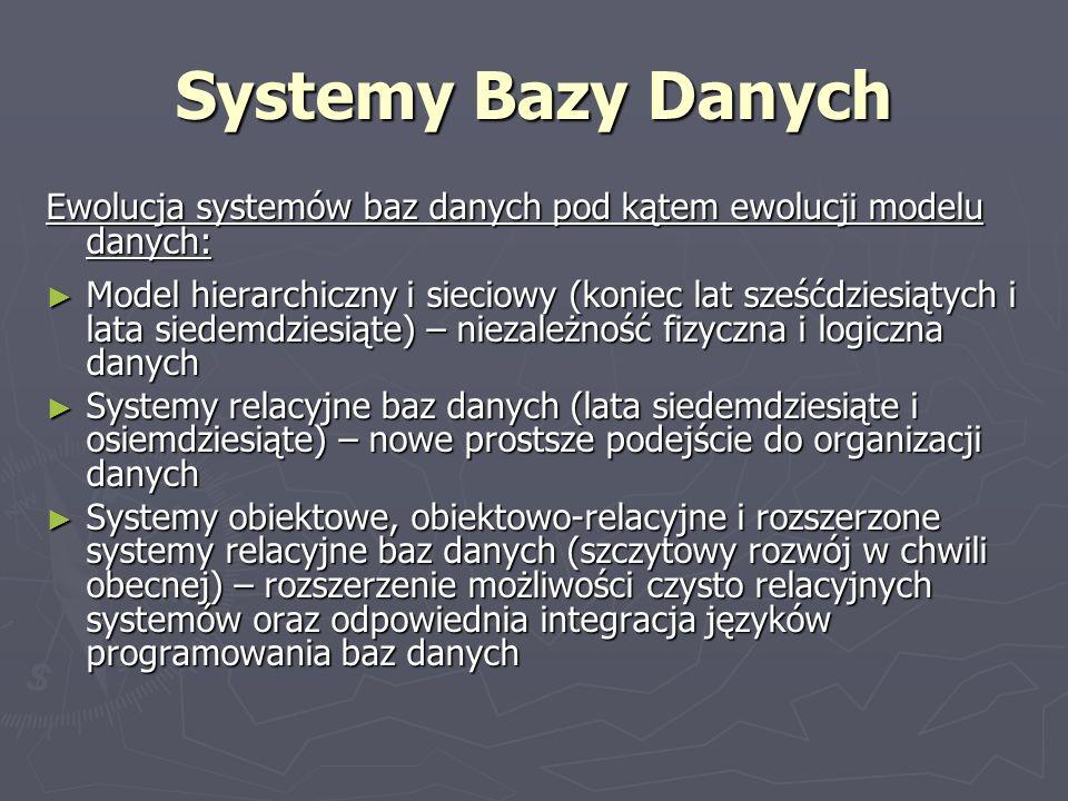 Systemy Bazy Danych Ewolucja systemów baz danych pod kątem ewolucji modelu danych: